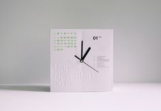 """12 months and 12 hours on the clock = calenclock. Beautiful design, too. Each month tears away to reveal a new month/phrase. Ends with """"Treasure Every Second."""""""