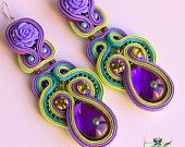 Long Soutache Earrings - Swarovski