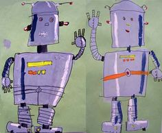 Robot Art: Reading/Writing/Art connection: details are an important part of… Childrens Workshop, Robot Painting, Primary School Art, Third Grade Art, Middle School Art Projects, Writing Art, Art Lessons Elementary, Painting Lessons, Art Lesson Plans