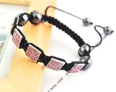 Pink Cubic Nylon Crystal Hematite Bracelets Jewelry Gift