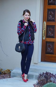 Plaid shirt and fur, dark denim, Chloe Drew dupe, perfect Christmas look, winter layers. How to wear plaid shirt