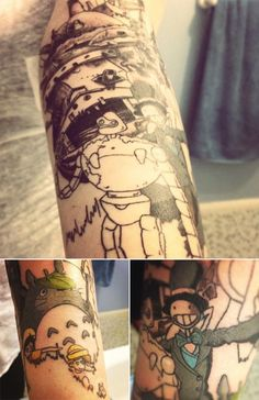 awww howls flying castle and totoro tattoos had to pin this!
