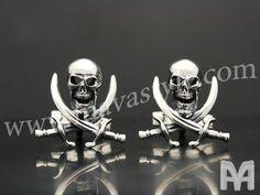 Sterling Silver Skull & Swords Cufflinks by MAVAStyle on Etsy, $499.99