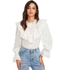 97088aae35 Eyelet Embroidered Ruffle and Bell Cuff Blouse White Blouses 2018 Elegant  Women's Long Sleeve Blouse /