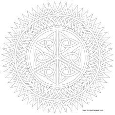 Peace symbol knotwork mandala to color- jpg and transparent PNG format Pattern Coloring Pages, Printable Adult Coloring Pages, Mandala Coloring Pages, Coloring Book Pages, Coloring Sheets, Coloring Stuff, Celtic Art, Celtic Designs, Zentangle Patterns