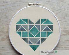 3 geometric modern cross stitch heart patterns by Happinesst