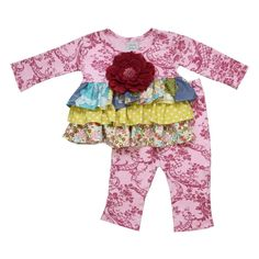 OUT OF STOCK...  Serendipity tunic set - an adorable outfit from designer Haute Baby. This set is featuring exquisite burgundy floral damask with ruffled vintage trim. What a fresh new boutique look! Burgundy beaded flower is removable for washing.100% cotton, machine wash cold, drip dry.Made in USA.