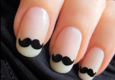 mustache nails<3