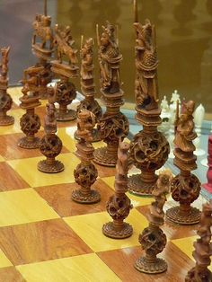 Stained and White Ivory Puzzle-Ball Chess Set China Early 20th Century CE