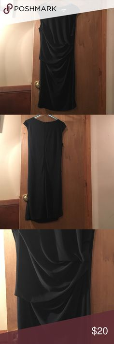 Black Dress Beautiful black dress, with draping on left side. Back zip. New without tags, never worn.  So pretty on! Cato Dresses Midi