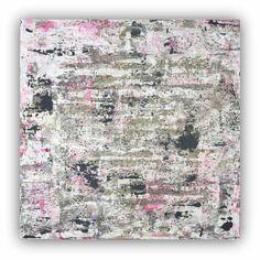 Wand Kunst große abstrakte Malerei Neon pink schwarz und weiß