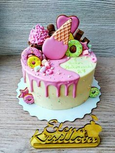 Ideas Birthday Cake Small Kids For 2019 Fondant Cakes, Cupcake Cakes, Party Cupcakes, Novelty Birthday Cakes, Cake Birthday, Drippy Cakes, Blackberry Cake, Party Sweets, Plum Cake
