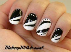 Day Black White Nails