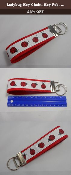 """Ladybug Key Chain, Key Fob, Wristlet Key Chain, Wristlet Key Fob, Red. Our Wristlet Key Chains are made using heavy duty cotton webbing. Ribbon is sewn on for added durability. The large loop is perfect for slipping your wrist through for hands free shopping. It also makes it easy to find in bags. Key Chain length is approximately 5"""" and fits most wrists. A perfect gift for that new driver, a special gift for someone or yourself!."""