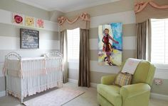 striped khaki and white nursery