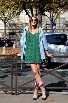 cable knit & Miu Miu. #HelenaBordon in Paris.