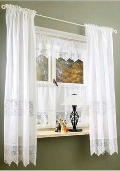 40 Windows Decor You Will Definitely Want To Try - Home Decoration - Interior Design Ideas Crochet Curtains, Lace Curtains, White Curtains, Window Curtains, Window Curtain Designs, Shabby Chic Kitchen, Living Room Pictures, Kitchen Curtains, Window Coverings