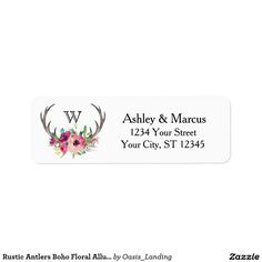 Rustic Antlers Boho Floral Allure Label - With enchanting rustic boho style, this return address label features deer horns beautifully embellished with watercolor florals in rich purple, magenta and pink hues. Sold at Oasis_Landing on Zazzle.
