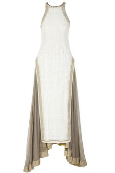 Modern day Cleopatra dress. Ecru and grey button embellished layered dress available only at Pernia's Pop-Up Shop.