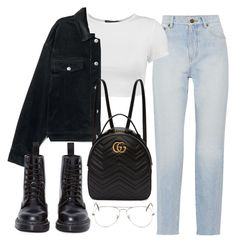 """Sin título #3752"" by camilae97 ❤ liked on Polyvore featuring Yves Saint Laurent, Boohoo, Gucci, Dr. Martens and Ray-Ban"