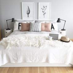 Grey and white room decor white bed decor grey and white bedroom decor a lovely grey white and pink bedroom by white bed decor furniture white bedroom gray Pink Bedroom Decor, White Bedroom Furniture, Cozy Bedroom, Scandinavian Bedroom, Bedroom Ideas, Master Bedroom, Bedroom Bed, Furniture Decor, Scandinavian Style