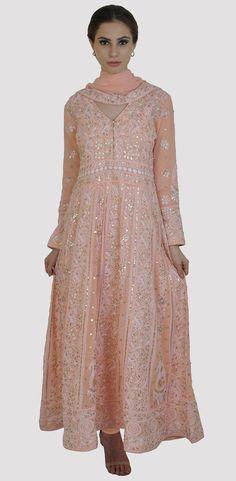 Pastel Peach Chikankari and Gota Patti Anarkali Pure Georgette Suit