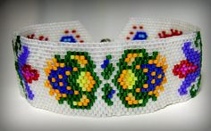 This bracelet is beadwoven with cylinder seed beads from a design by Lenni Cramer. Unique Bracelets, Handmade Bracelets, Handmade Jewelry, Beaded Bracelets, Boho Jewelry, Jewelry Crafts, Free People Jewelry, Bead Weaving, Seed Beads