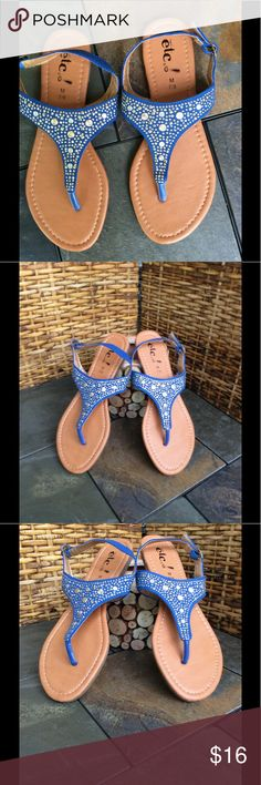 🌺BRAND NEW-VERY CUTE SANDALS/ ADJUSTABLE STRAP 🌺 BRAND NEW--REALLY CUTE BLUE SANDALS IN A LOVELY BLUE EMBELLISHED WITH GOLD AND SILVER ORNAMENTATION. THESE SANDALS CAN BE WORN WITH ANYTHING. YOU ARE GOING TO LOVE ❤️ WEARING THESE. NICE AND COMFORTABLY. Shoes Sandals