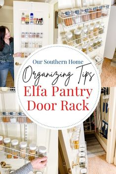 Organize your pantry and pantry door today with these tips! Learn how to do the project overtime. It's ok to do it in phases. Pantry organization can totally change the function of your home. The Container Store has an amazing selection of Elfa pantry systems and food storage containers. Get started today! #ad #TheContainerStore #organizing #pantrydoor #kitchenorganizing #spiceorganizing