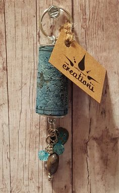 NEW SHOP Wine Cork Keychain Turquoise Dyed by AshleyMeganCreations