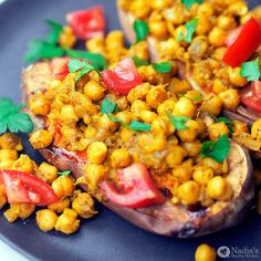 Baked Sweet Potato With Garam Masala Chickpeas A quick, easy, comforting and filling dinner idea using delicious plant-based ingredients that will nourish your body. In my opinion, sweet potatoes are one of the most delicious…