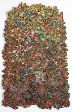 """LEAF FALL I"" Lesley Richmond Cotton/silk fabric, heat reactive base, metal patinas"