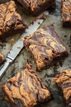 Chocolate Banana Brownies with a Peanut Butter Swirl: Bananas + Boxed Brownies! #Recipe