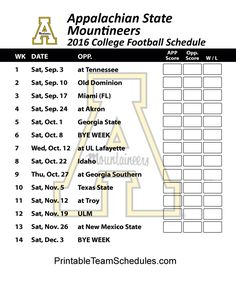 Appalachian State Mountaineers 2016 College Football Schedule Print Here - http://printableteamschedules.com/collegefootball/appalachianstatemountaineers.php