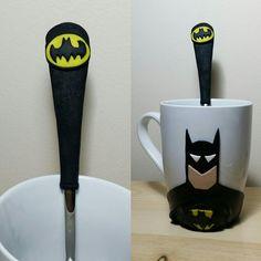 #batman#polymerclayart#batmanmug#batmanspoon#gothamcityhanmade