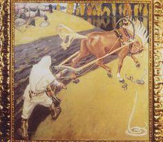 Akseli Gallen-Kallela, Ilmarinen Ploughing the Field of Vipers Koti, Painters, Horses, Digital, Illustration, Animals, Inspiration, Ideas, Scandinavian