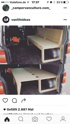 10 Camper Van Bed Designs For Your Next Van Build One of the most unique bed designs I have seen. This is perfect for a camper! I love this little van hack to make both a bed and a seat! 10 Camper Van Bed Designs For Your Next Van Build One of the most … Truck Camper, Truck Bed Camping, Camper Trailers, Minivan Camping, Camping Near Me, Camping Chairs, Tent Camping, Camping Gear, Camping Hacks