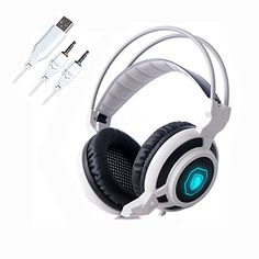 eTopxizu  SADES Arcmage 35mm Stereo Gaming Headphone Headset with Microphone  Volume Control RGB LED Light White * See this great product.