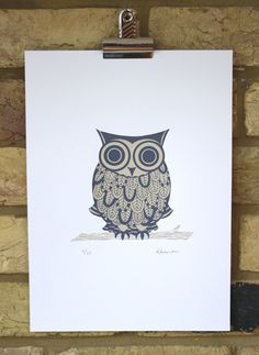 owl print Great horned owl illustration original by print121, £25.00