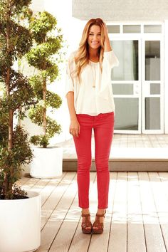 The pants. How summery. :) and I love it with the nice white, flowy top added with a necklace. So simple but flattering.