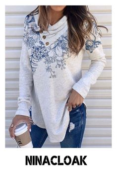 # Cotton Mix # Pullovers # Print # Autumn / Winter / Spring # Leisure # V-neck # women's fashion # Casual #