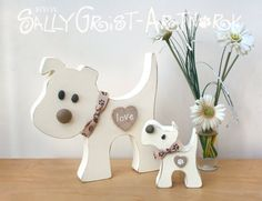 PUPPY LOVE Pair of wooden doggies handmade by SallyGristArtwork