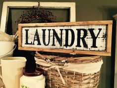 Laundry Sign • Framed Laundry Wooden Sign • Painted Sign • Farmhouse Style • Black and White • Distressed • Farmhouse Decor • Gift
