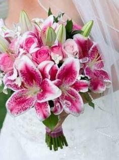 Stargazer Lily Wedding Bouquet- One of my wedding flowers :) Stargazer Lily Bouquet, Stargazer Lily Wedding, Lily Bouquet Wedding, Bride Bouquets, Wedding Flowers, Rose Bouquet, Love Lily, Pink Lily, Boutonnieres