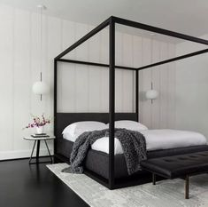 Black White Bedrooms, Black And White Interior, Black And White Baby, White Rooms, Black And White Design, White Walls, Bedroom Red, Couple Bedroom, Master Bedroom