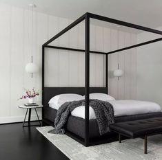 Black Rooms, White Rooms, White Bedroom, White Walls, Master Bedroom, Black And White Interior, Black And White Baby, Black And White Design, Modern Bedroom Design