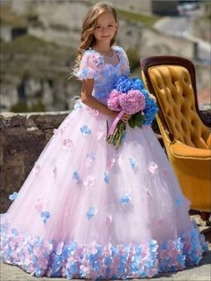 This elegant gown has Victorian style sleeves with an embellished neckline covered in layers of tulle and flower galore. Wear this special occasional dress for weddings, birthdays galas, or any event you want to dazzle your girl. Girls Pageant Dresses, Gowns For Girls, Little Girl Dresses, Tulle Flower Girl, Tulle Flowers, Flower Girl Dresses, Baby Dress, Pink Dress, Gowns Of Elegance