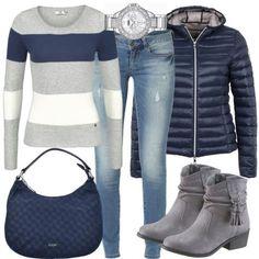 Herbst-Outfits: AutumnWalk bei FrauenOutfits.de ___ #herbst #outfit #herbstoutfit #frauenoutfit #damenoutfit #damenmode #mode #outfitinspiration #casual #stiefeletten #gestreift