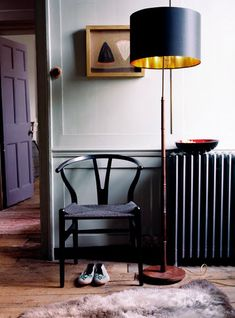 black wishbone chair and standard black lamp shade with gold interior - very nice Gold Interior, House Design, Decor Inspiration, Interior Design, House Interior, Interior Inspiration, Interior, Home Decor, Furniture