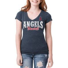 Los Angeles Angels Womens Short Sleeve Team Color Graphic Tee, Women's, Size: Medium, Blue